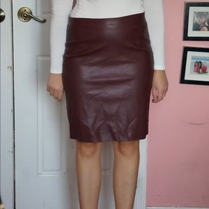 """Red/maroon """"pleather leather skirt"""